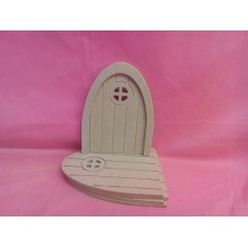 4mm MDF Grooved Fairy door with round window pack of 5